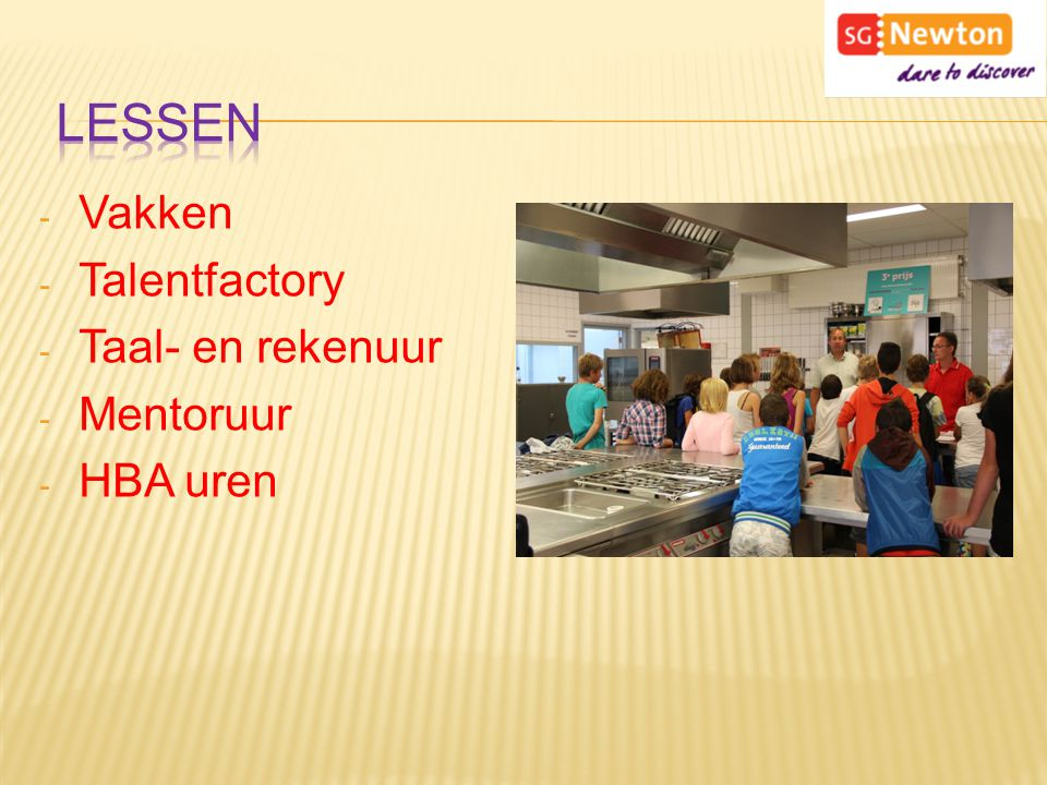 - Vakken - Talentfactory - Taal- en rekenuur - Mentoruur - HBA uren