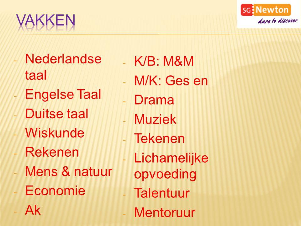 - Nederlandse taal - Engelse Taal - Duitse taal - Wiskunde - Rekenen - Mens & natuur - Economie - Ak - K/B: M&M - M/K: Ges en - Drama - Muziek - Tekenen - Lichamelijke opvoeding - Talentuur - Mentoruur