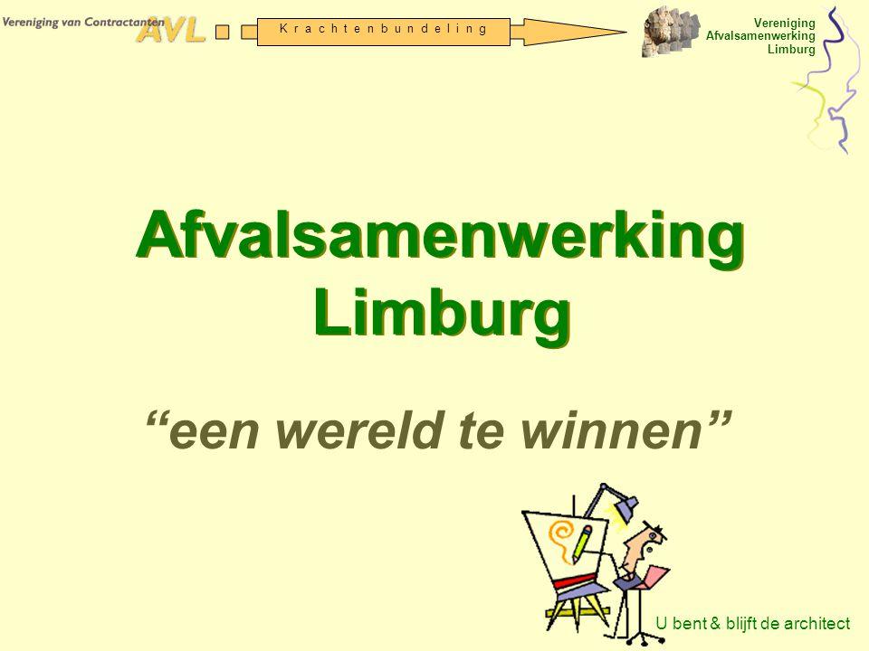Vereniging Afvalsamenwerking Limburg K r a c h t e n b u n d e l i n g Agenda ALV 1.Opening 2.Mededelingen 3.Presentatie (proces, waarom, waarin, hoe) Procesverloop Doelen (strategienota) Programmering en werkprogramma Organisatiewijziging VvC AVL V-ASL Hoofdlijnen statutenwijziging Financiering 2004; 2005 t/m 2008 en na 2008 4.Richtinggevende besluitvorming Strategie, programma en werkplan Statutenwijziging Financiering 2004 respectievelijk 2005 t/m 2008 5.Rondvraag 6.Sluiting 7.Uitlooplunch