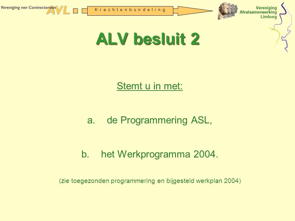 Vereniging Afvalsamenwerking Limburg K r a c h t e n b u n d e l i n g ALV besluit 2 Stemt u in met: a.de Programmering ASL, b.het Werkprogramma 2004.