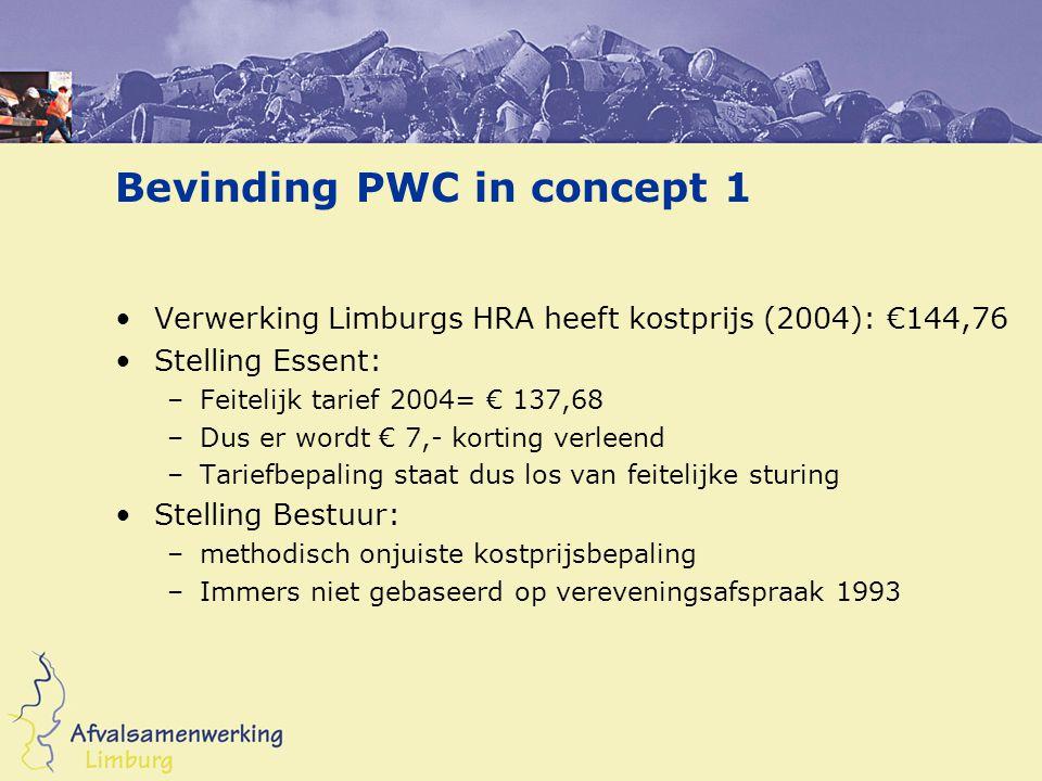 Bevinding PWC in concept 1 Verwerking Limburgs HRA heeft kostprijs (2004): €144,76 Stelling Essent: –Feitelijk tarief 2004= € 137,68 –Dus er wordt € 7,- korting verleend –Tariefbepaling staat dus los van feitelijke sturing Stelling Bestuur: –methodisch onjuiste kostprijsbepaling –Immers niet gebaseerd op vereveningsafspraak 1993