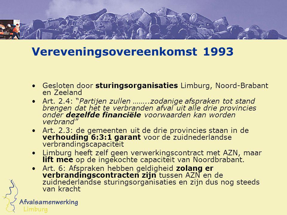 """Vereveningsovereenkomst 1993 Gesloten door sturingsorganisaties Limburg, Noord-Brabant en Zeeland Art. 2.4: """"Partijen zullen ……..zodanige afspraken to"""