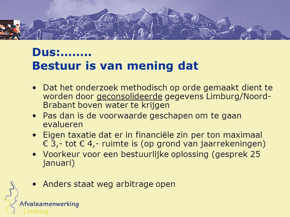 Dus:…….. Bestuur is van mening dat Dat het onderzoek methodisch op orde gemaakt dient te worden door geconsolideerde gegevens Limburg/Noord- Brabant b