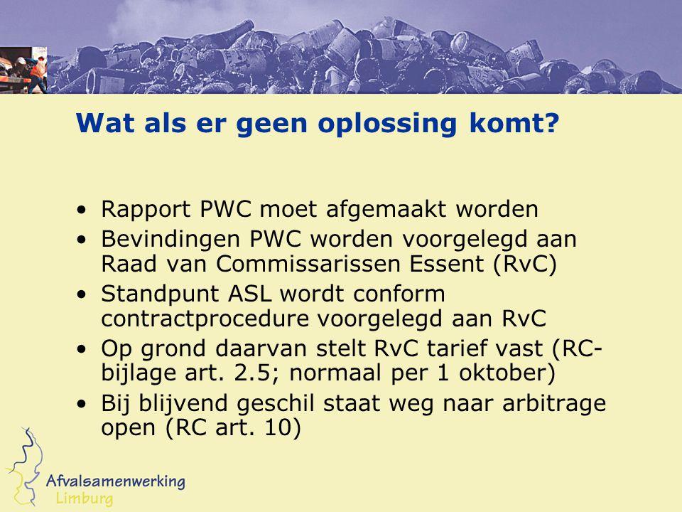 Wat als er geen oplossing komt? Rapport PWC moet afgemaakt worden Bevindingen PWC worden voorgelegd aan Raad van Commissarissen Essent (RvC) Standpunt