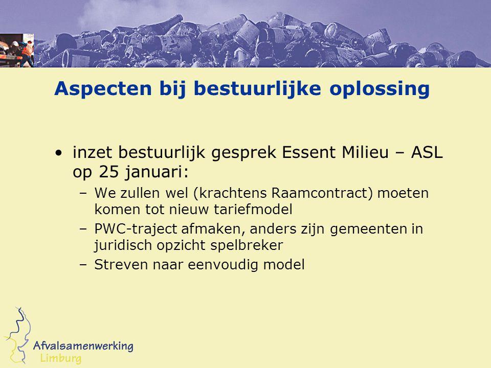 Aspecten bij bestuurlijke oplossing inzet bestuurlijk gesprek Essent Milieu – ASL op 25 januari: –We zullen wel (krachtens Raamcontract) moeten komen
