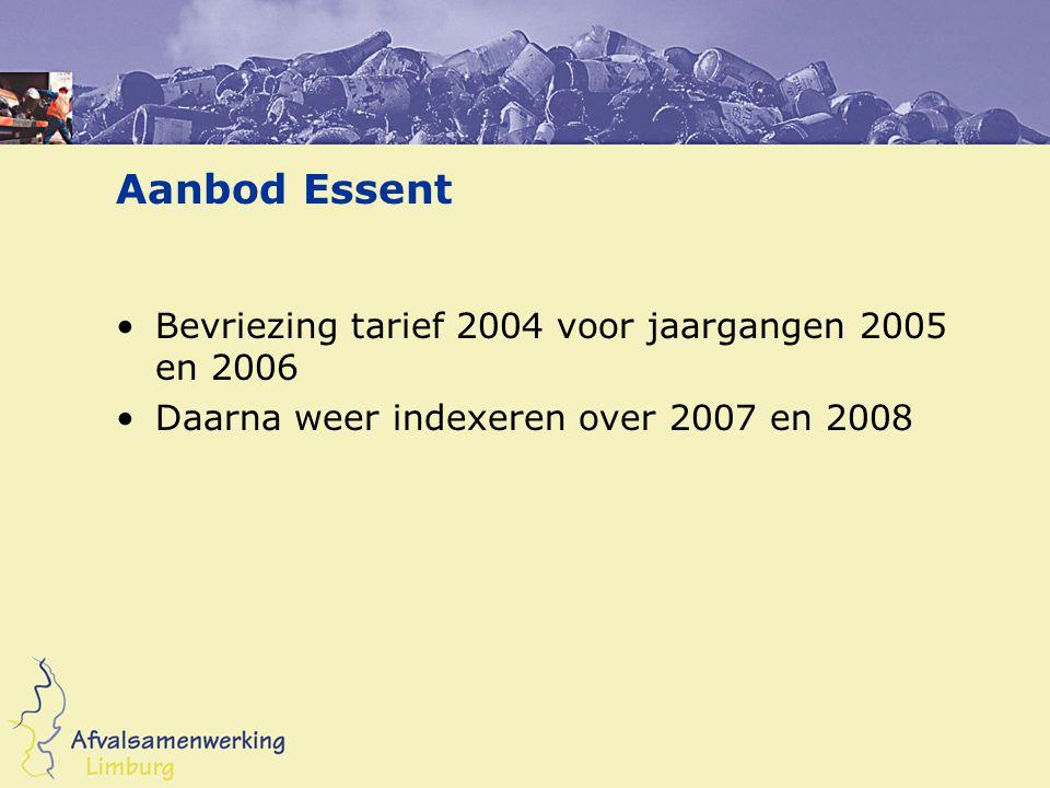 Aanbod Essent Bevriezing tarief 2004 voor jaargangen 2005 en 2006 Daarna weer indexeren over 2007 en 2008