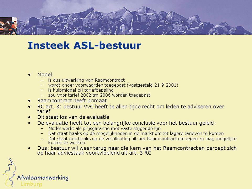 Insteek ASL-bestuur Model –is dus uitwerking van Raamcontract –wordt onder voorwaarden toegepast (vastgesteld 21-9-2001) –is hulpmiddel bij tariefbepaling –zou voor tarief 2002 tm 2006 worden toegepast Raamcontract heeft primaat RC art.