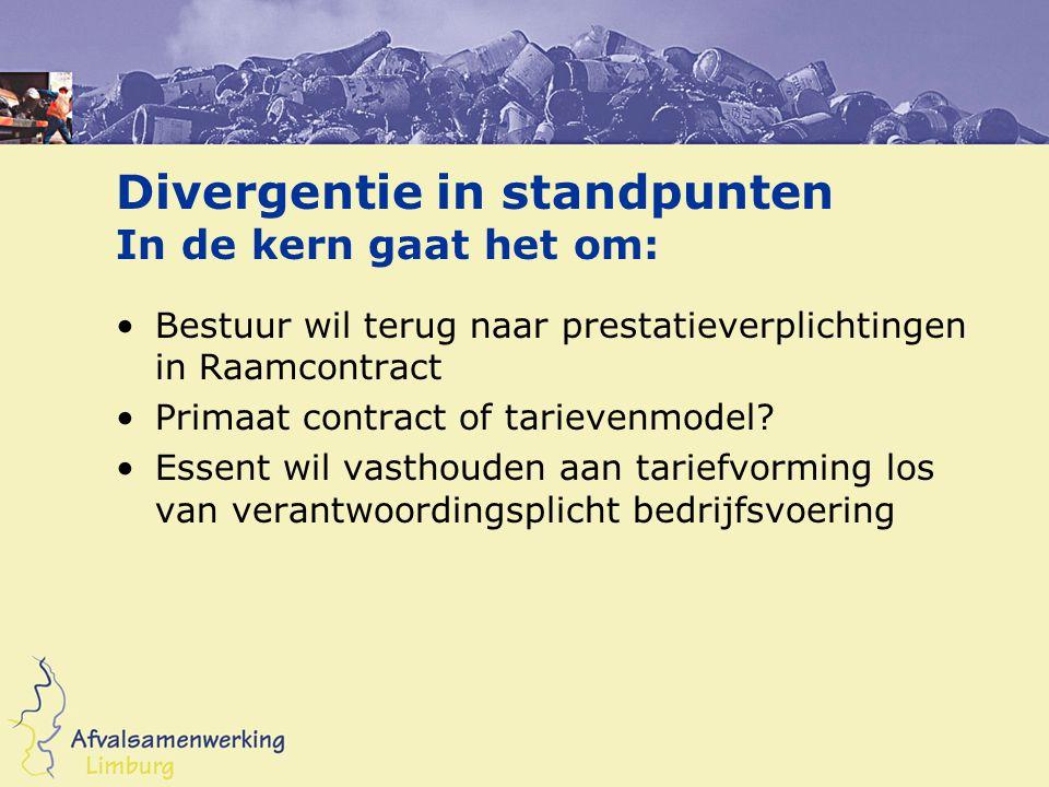 Divergentie in standpunten In de kern gaat het om: Bestuur wil terug naar prestatieverplichtingen in Raamcontract Primaat contract of tarievenmodel.