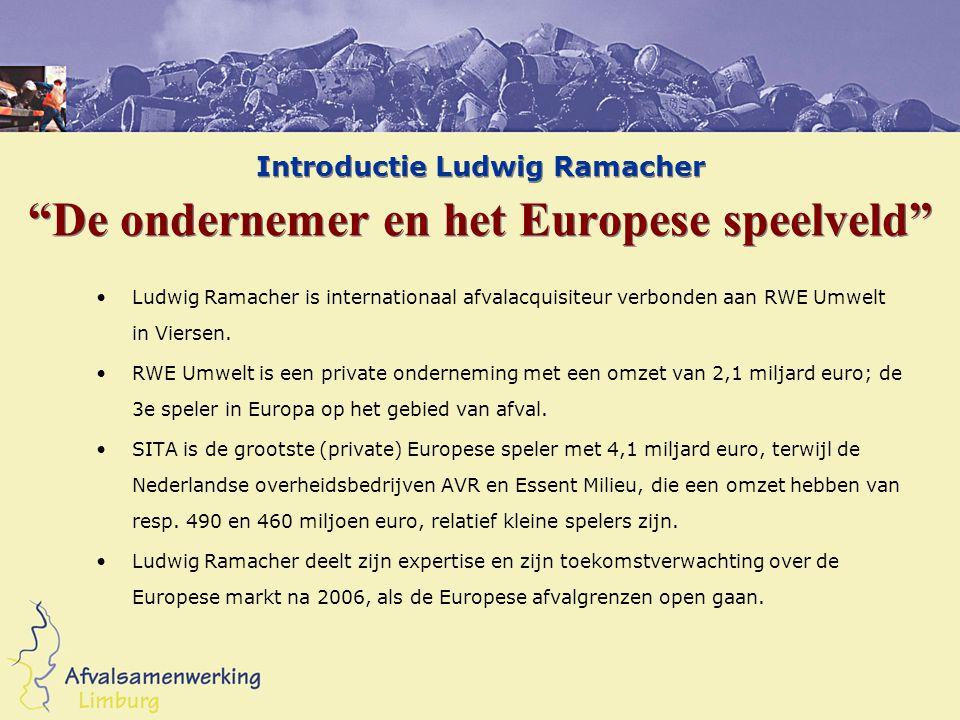 """Introductie Ludwig Ramacher """"De ondernemer en het Europese speelveld"""" Ludwig Ramacher is internationaal afvalacquisiteur verbonden aan RWE Umwelt in V"""