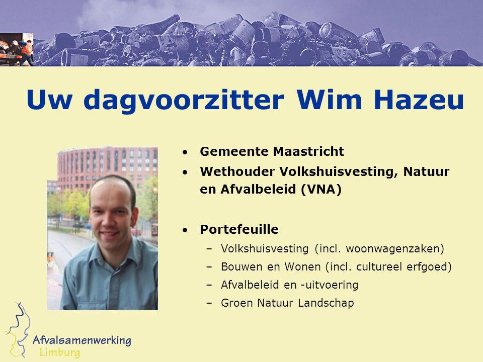Uw dagvoorzitter Wim Hazeu Gemeente Maastricht Wethouder Volkshuisvesting, Natuur en Afvalbeleid (VNA) Portefeuille –Volkshuisvesting (incl. woonwagen