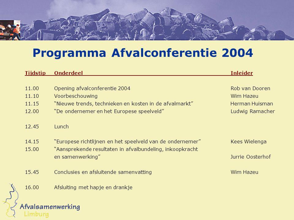 """Programma Afvalconferentie 2004 TijdstipOnderdeelInleider 11.00Opening afvalconferentie 2004Rob van Dooren 11.10VoorbeschouwingWim Hazeu 11.15""""Nieuwe"""