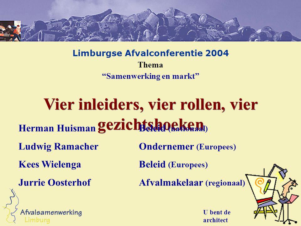 "Limburgse Afvalconferentie 2004 Thema ""Samenwerking en markt"" U bent de architect Vier inleiders, vier rollen, vier gezichtshoeken Herman HuismanBelei"