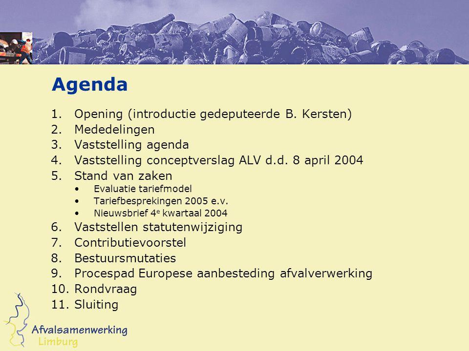 5.Stand van zaken (Toelichting Harry Govers) Evaluatie tariefmodel 2001 Tariefbesprekingen 2005 e.v.