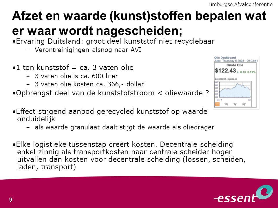 9 Afzet en waarde (kunst)stoffen bepalen wat er waar wordt nagescheiden; Ervaring Duitsland: groot deel kunststof niet recyclebaar –Verontreinigingen