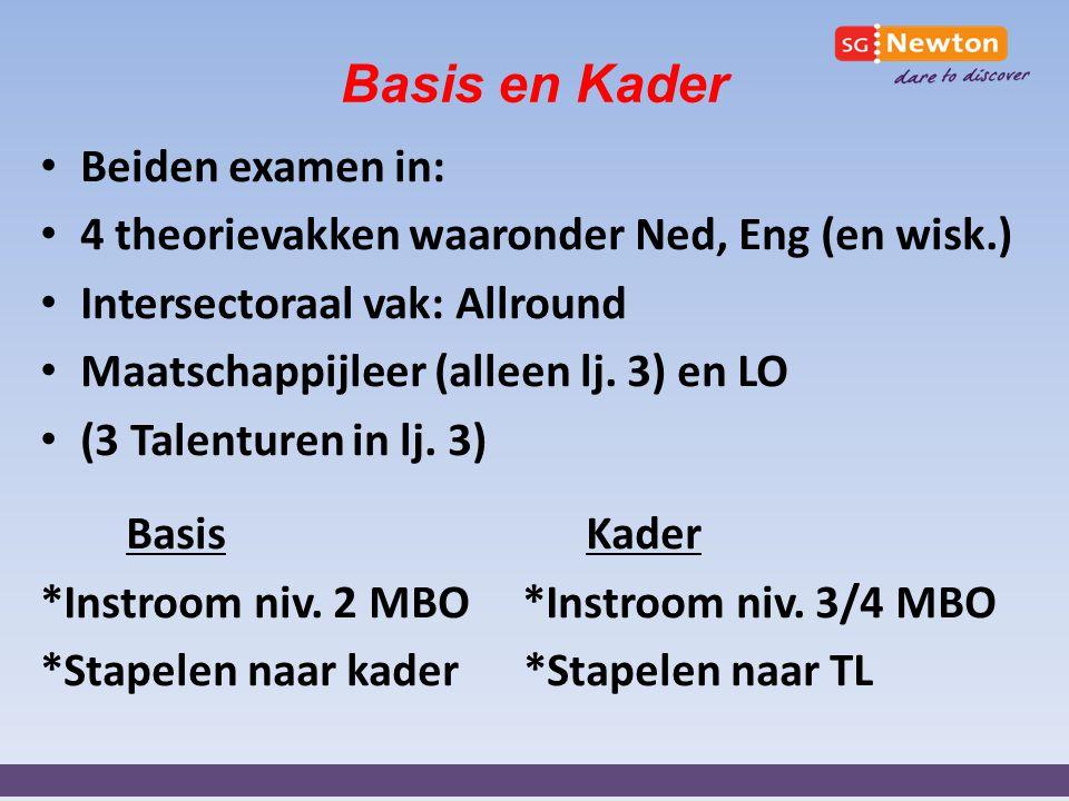 Basis en Kader Beiden examen in: 4 theorievakken waaronder Ned, Eng (en wisk.) Intersectoraal vak: Allround Maatschappijleer (alleen lj. 3) en LO (3 T