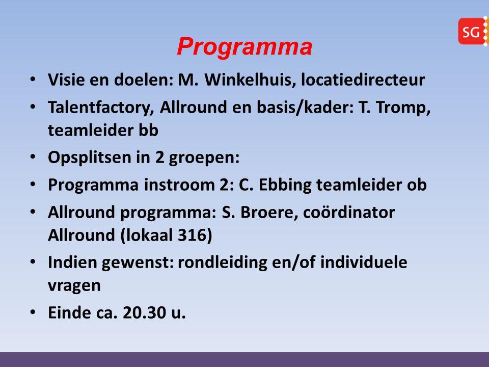 Programma Visie en doelen: M. Winkelhuis, locatiedirecteur Talentfactory, Allround en basis/kader: T. Tromp, teamleider bb Opsplitsen in 2 groepen: Pr