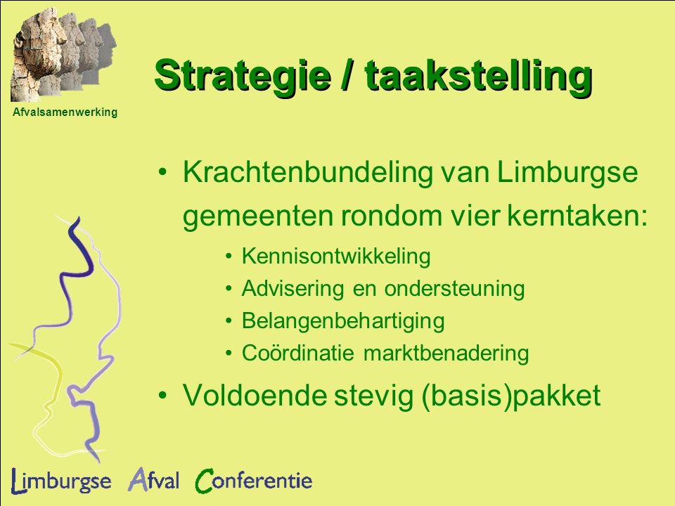 Afvalsamenwerking Strategie / taakstelling Krachtenbundeling van Limburgse gemeenten rondom vier kerntaken: Kennisontwikkeling Advisering en ondersteuning Belangenbehartiging Coördinatie marktbenadering Voldoende stevig (basis)pakket