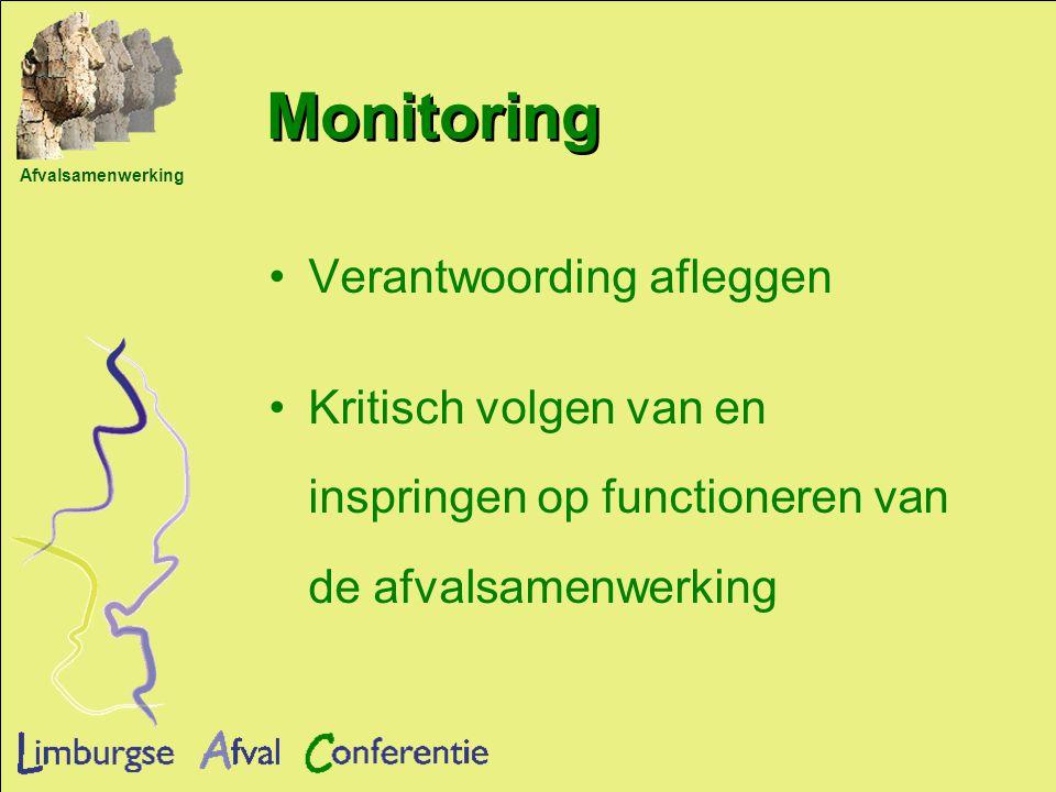 Afvalsamenwerking Monitoring Verantwoording afleggen Kritisch volgen van en inspringen op functioneren van de afvalsamenwerking