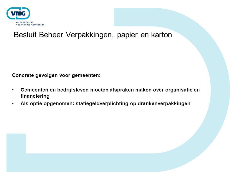 Besluit Beheer Verpakkingen, papier en karton Concrete gevolgen voor gemeenten: Gemeenten en bedrijfsleven moeten afspraken maken over organisatie en financiering Als optie opgenomen: statiegeldverplichting op drankenverpakkingen