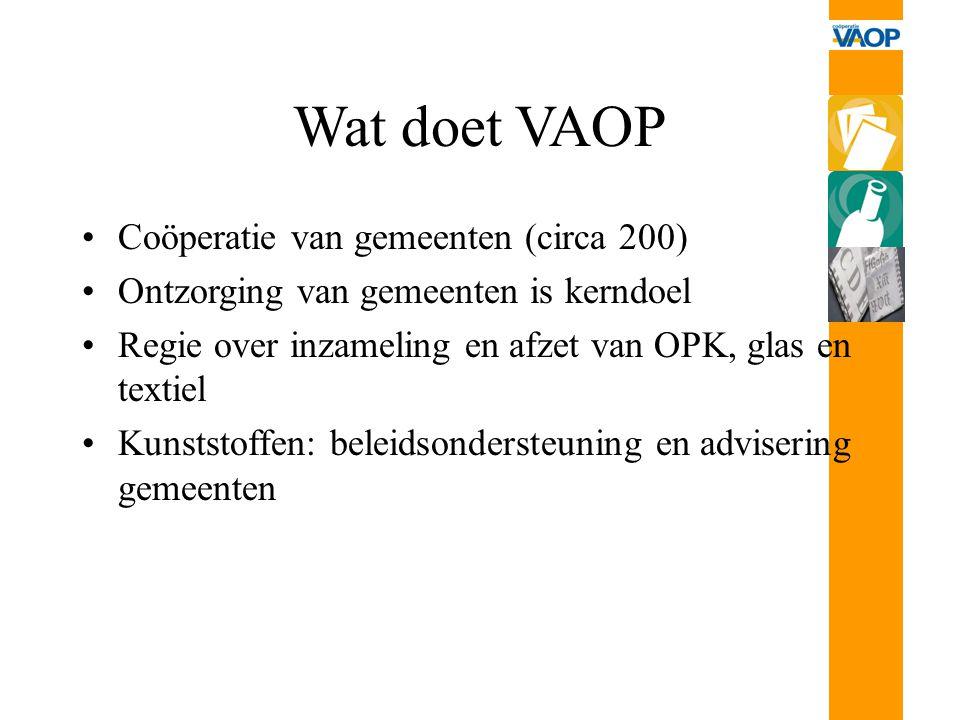 Wat doet VAOP Coöperatie van gemeenten (circa 200) Ontzorging van gemeenten is kerndoel Regie over inzameling en afzet van OPK, glas en textiel Kunsts