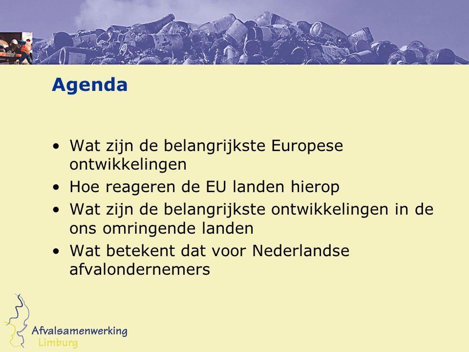 Europese ontwikkelingen Reeds ingevoerde richtlijnen –Richtlijn storten –Richtlijn verpakkingen –Richtlijn verbranden –EVOA Ontwikkelingen –Recycling strategie –Bodem strategie –Strategie voorraad beheer