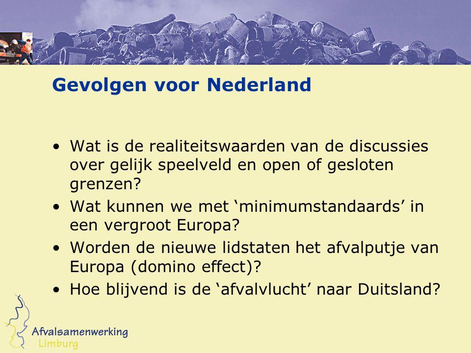 Gevolgen voor Nederland Wat is de realiteitswaarden van de discussies over gelijk speelveld en open of gesloten grenzen.