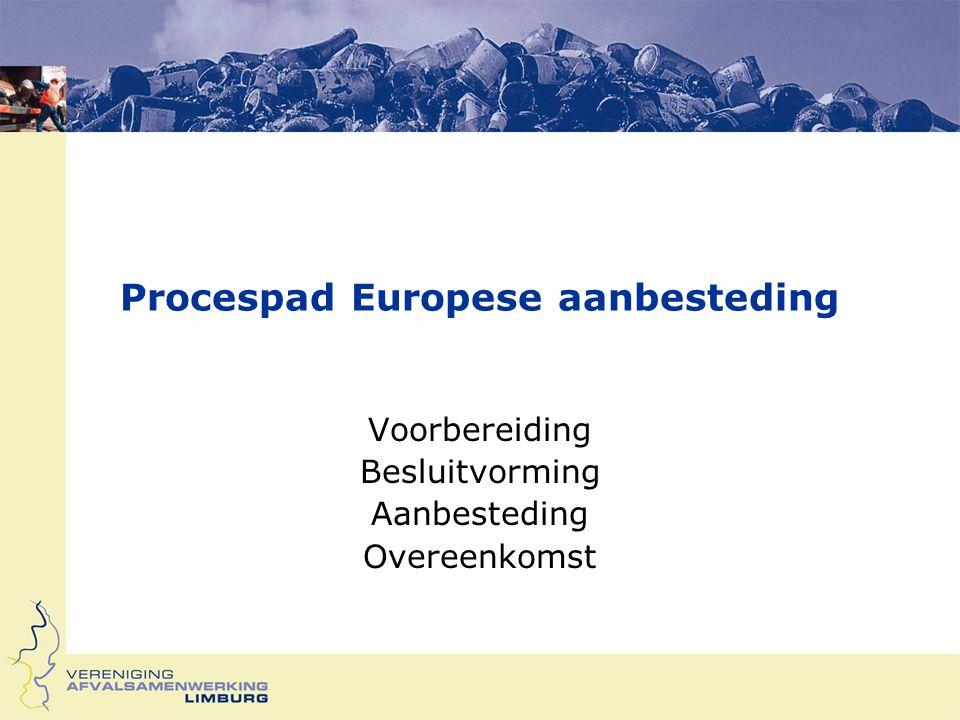Procespad Europese aanbesteding Voorbereiding Besluitvorming Aanbesteding Overeenkomst