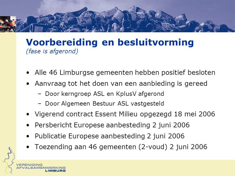 Voorbereiding en besluitvorming (fase is afgerond) Alle 46 Limburgse gemeenten hebben positief besloten Aanvraag tot het doen van een aanbieding is gereed –Door kerngroep ASL en KplusV afgerond –Door Algemeen Bestuur ASL vastgesteld Vigerend contract Essent Milieu opgezegd 18 mei 2006 Persbericht Europese aanbesteding 2 juni 2006 Publicatie Europese aanbesteding 2 juni 2006 Toezending aan 46 gemeenten (2-voud) 2 juni 2006