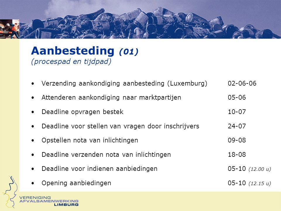 Aanbesteding (01) (procespad en tijdpad) Verzending aankondiging aanbesteding (Luxemburg)02-06-06 Attenderen aankondiging naar marktpartijen05-06 Deadline opvragen bestek10-07 Deadline voor stellen van vragen door inschrijvers24-07 Opstellen nota van inlichtingen09-08 Deadline verzenden nota van inlichtingen18-08 Deadline voor indienen aanbiedingen05-10 (12.00 u) Opening aanbiedingen05-10 (12.15 u)