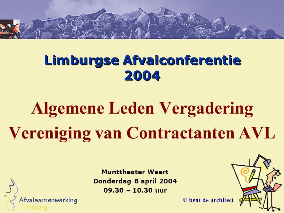 Limburgse Afvalconferentie 2004 Algemene Leden Vergadering Vereniging van Contractanten AVL U bent de architect Munttheater Weert Donderdag 8 april 2004 09.30 – 10.30 uur