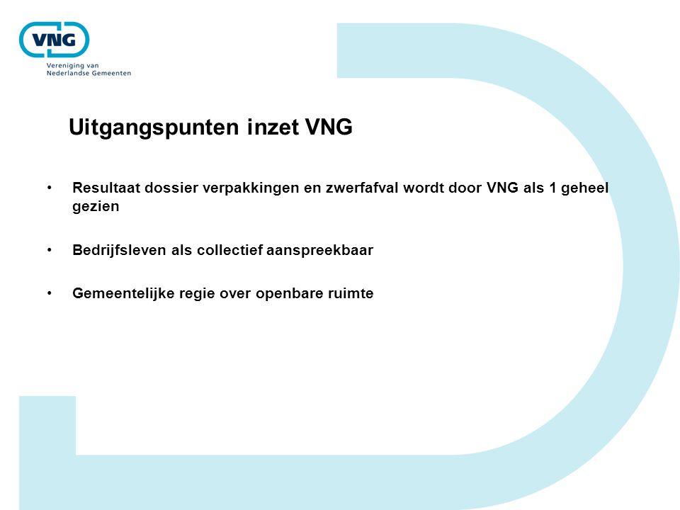 Uitgangspunten inzet VNG Resultaat dossier verpakkingen en zwerfafval wordt door VNG als 1 geheel gezien Bedrijfsleven als collectief aanspreekbaar Ge