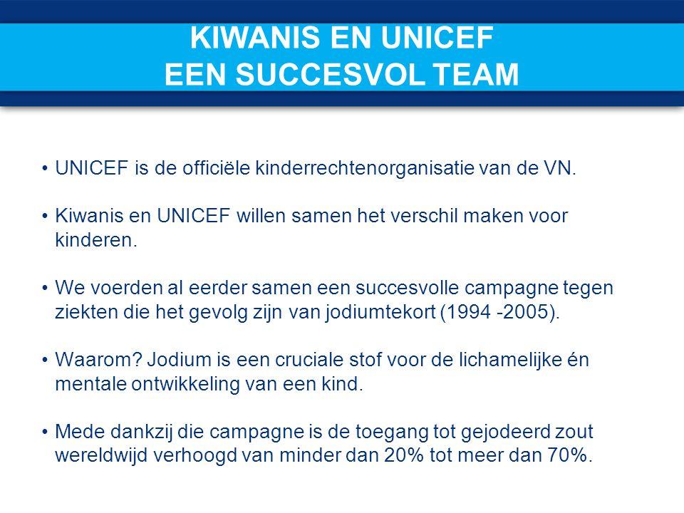 KIWANIS EN UNICEF EEN SUCCESVOL TEAM UNICEF is de officiële kinderrechtenorganisatie van de VN. Kiwanis en UNICEF willen samen het verschil maken voor