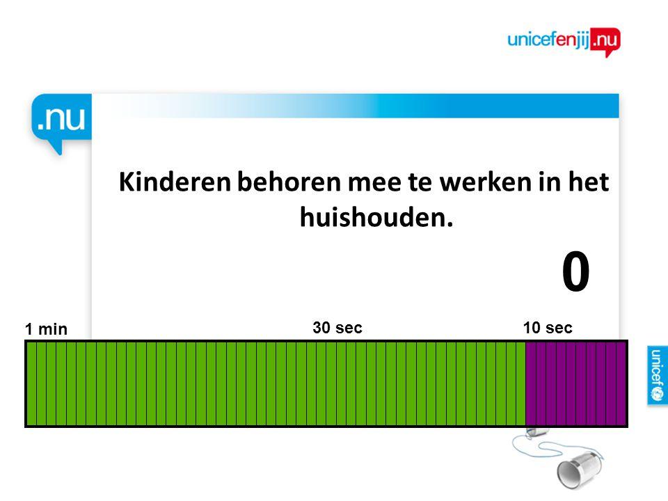 Kinderen behoren mee te werken in het huishouden. 1 min 30 sec 10 sec 9876543210