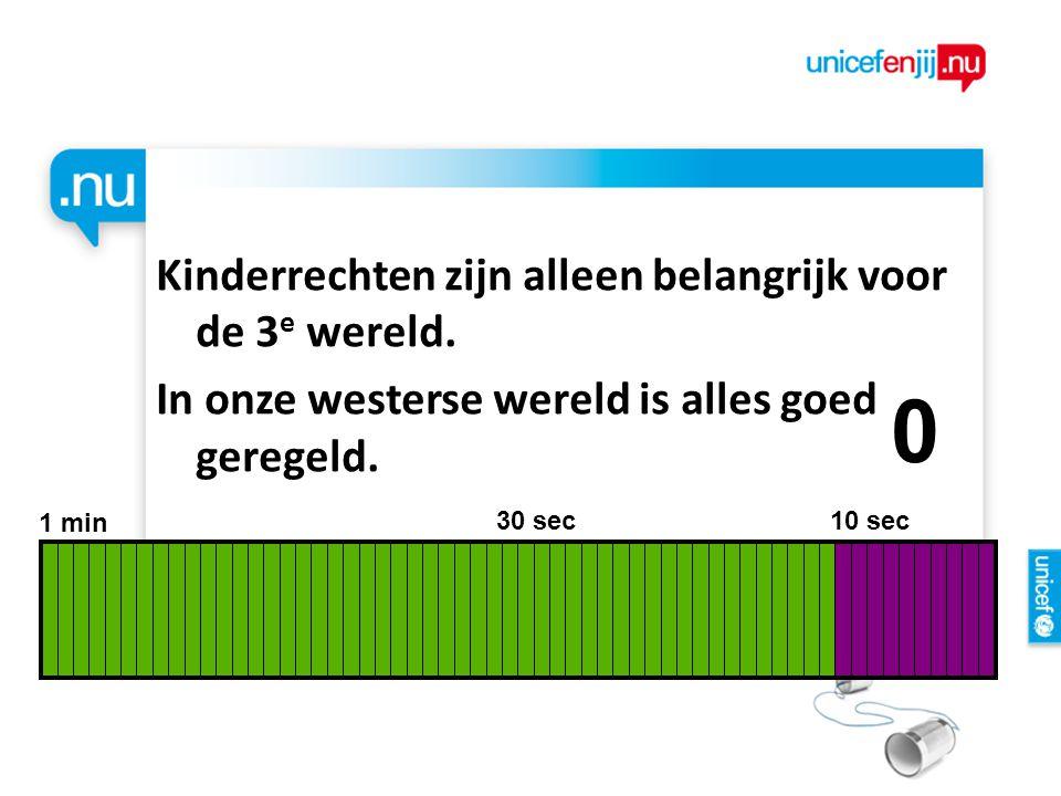 Kinderrechten zijn alleen belangrijk voor de 3 e wereld. In onze westerse wereld is alles goed geregeld. 1 min 30 sec 10 sec 9876543210