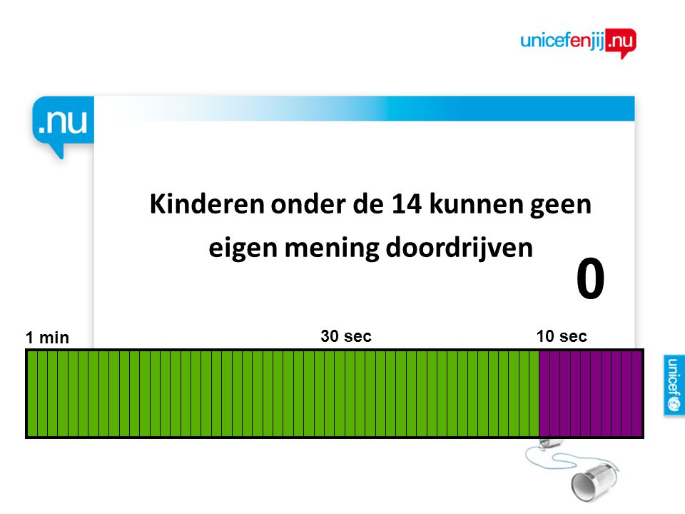 Kinderen onder de 14 kunnen geen eigen mening doordrijven 1 min 30 sec 10 sec 9876543210