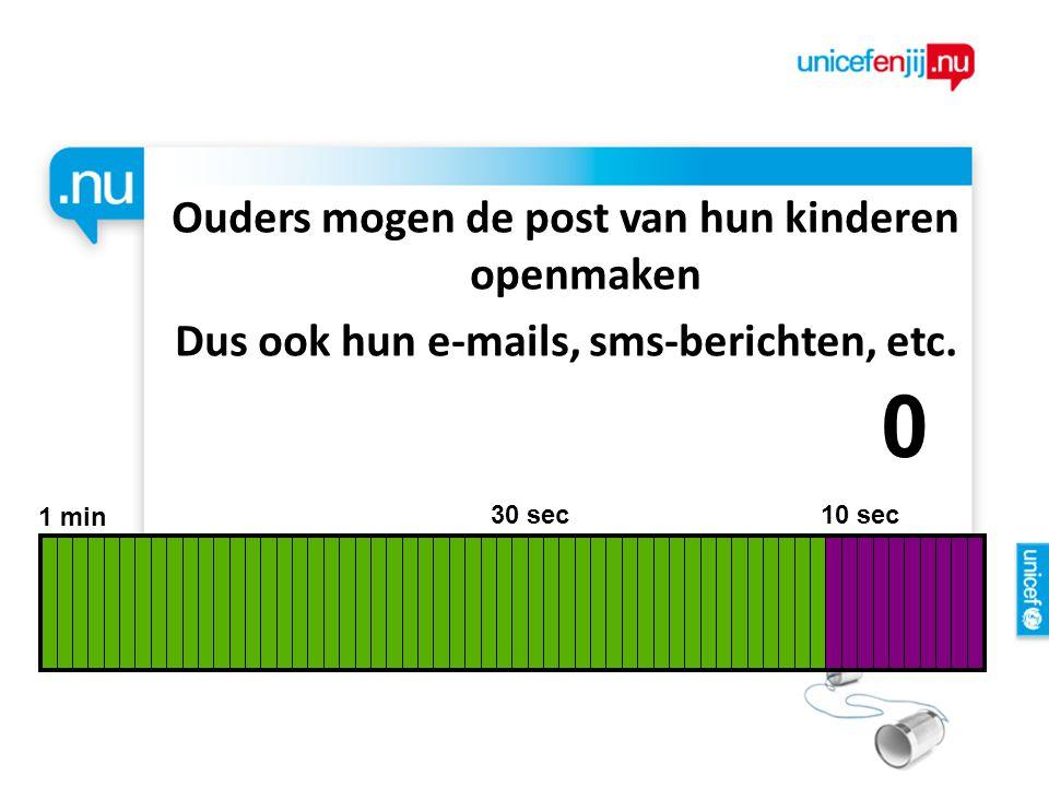 Ouders mogen de post van hun kinderen openmaken Dus ook hun e-mails, sms-berichten, etc. 1 min 30 sec 10 sec 9876543210