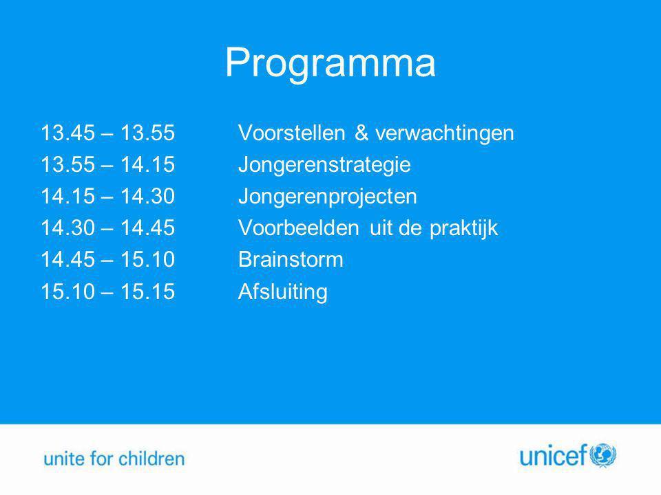 Programma 13.45 – 13.55Voorstellen & verwachtingen 13.55 – 14.15Jongerenstrategie 14.15 – 14.30 Jongerenprojecten 14.30 – 14.45Voorbeelden uit de praktijk 14.45 – 15.10Brainstorm 15.10 – 15.15 Afsluiting