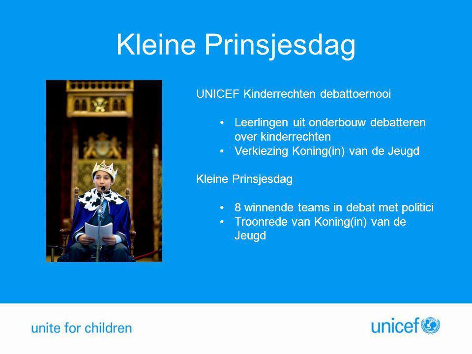Kleine Prinsjesdag UNICEF Kinderrechten debattoernooi Leerlingen uit onderbouw debatteren over kinderrechten Verkiezing Koning(in) van de Jeugd Kleine Prinsjesdag 8 winnende teams in debat met politici Troonrede van Koning(in) van de Jeugd