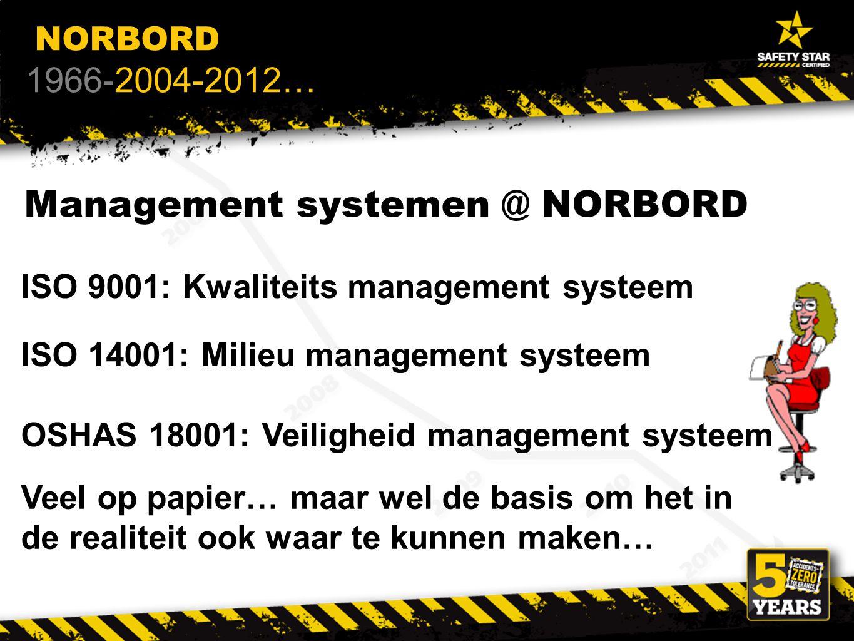 Management systemen @ NORBORD ISO 9001: Kwaliteits management systeem ISO 14001: Milieu management systeem OSHAS 18001: Veiligheid management systeem Veel op papier… maar wel de basis om het in de realiteit ook waar te kunnen maken… NORBORD 1966-2004-2012…
