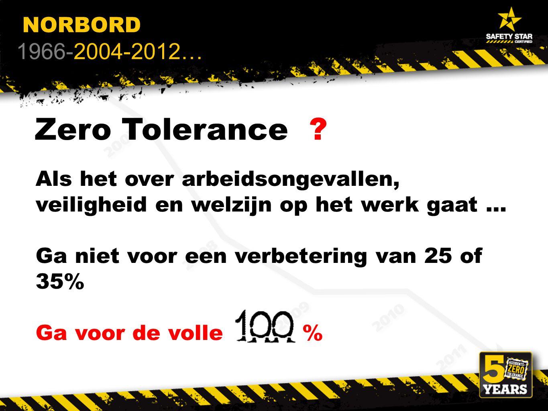 Zero Tolerance2?1 Als het over arbeidsongevallen, veiligheid en welzijn op het werk gaat … Ga niet voor een verbetering van 25 of 35% Ga voor de volle % NORBORD 1966-2004-2012…