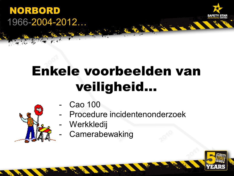 Enkele voorbeelden van veiligheid… De syndicale delegatie NORBORD 1966-2004-2012… -Cao 100 -Procedure incidentenonderzoek -Werkkledij -Camerabewaking
