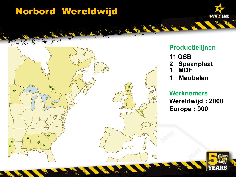 Productielijnen 11OSB 2 Spaanplaat 1 MDF 1Meubelen Werknemers Wereldwijd : 2000 Europa : 900 Norbord Wereldwijd