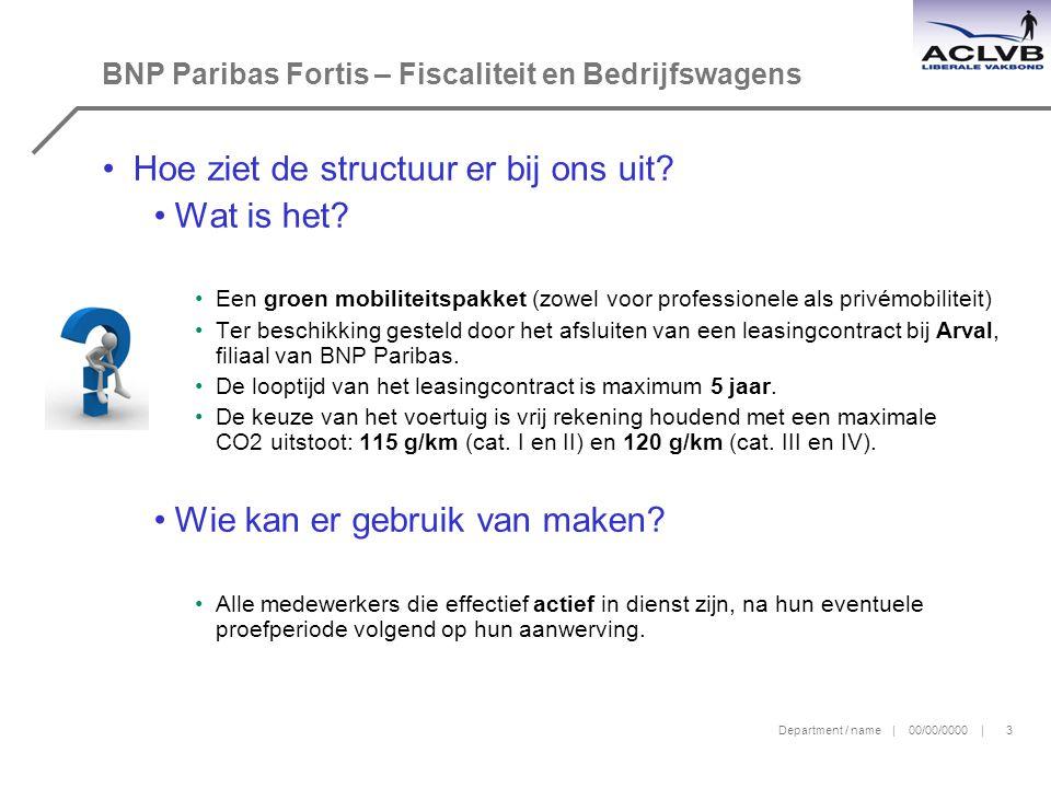 Department / name | 00/00/0000 | 3 BNP Paribas Fortis – Fiscaliteit en Bedrijfswagens Hoe ziet de structuur er bij ons uit.