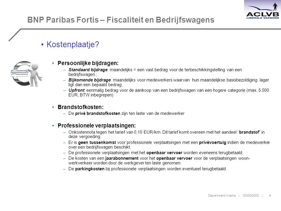 Department / name | 00/00/0000 | 4 BNP Paribas Fortis – Fiscaliteit en Bedrijfswagens Kostenplaatje.