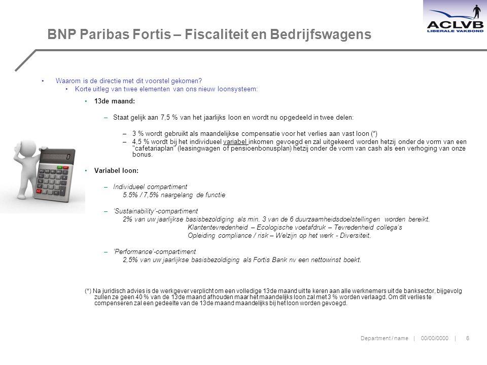 Department / name | 00/00/0000 | 6 BNP Paribas Fortis – Fiscaliteit en Bedrijfswagens Waarom is de directie met dit voorstel gekomen.