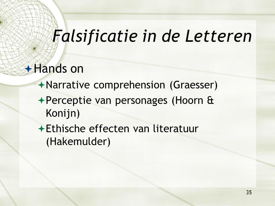 34 Falsificatie in de Letteren  Conceptueel  Gombrich: Geschiedenis van de kunst als een eindeloze, en geleidelijke verandering van traditionele, schematische representatie, onder druk van nieuwe eisen.