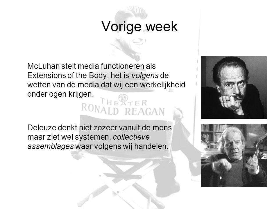 Vorige week McLuhan stelt media functioneren als Extensions of the Body: het is volgens de wetten van de media dat wij een werkelijkheid onder ogen krijgen.