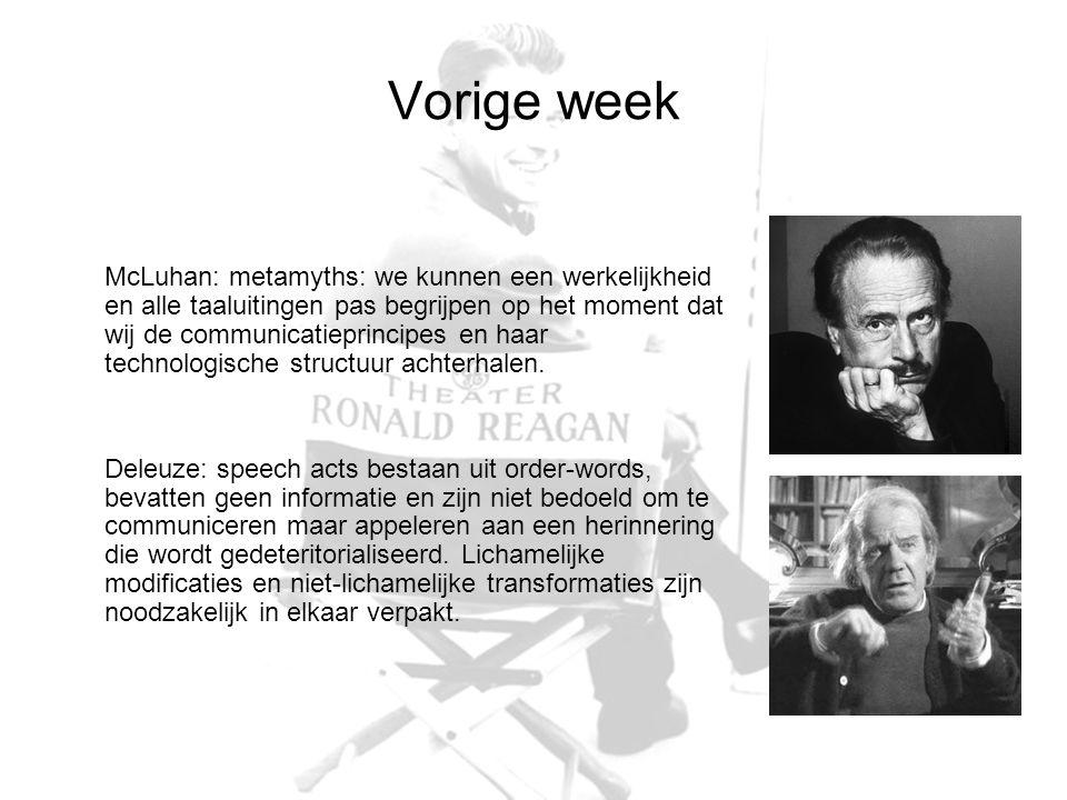 Vorige week McLuhan: metamyths: we kunnen een werkelijkheid en alle taaluitingen pas begrijpen op het moment dat wij de communicatieprincipes en haar technologische structuur achterhalen.