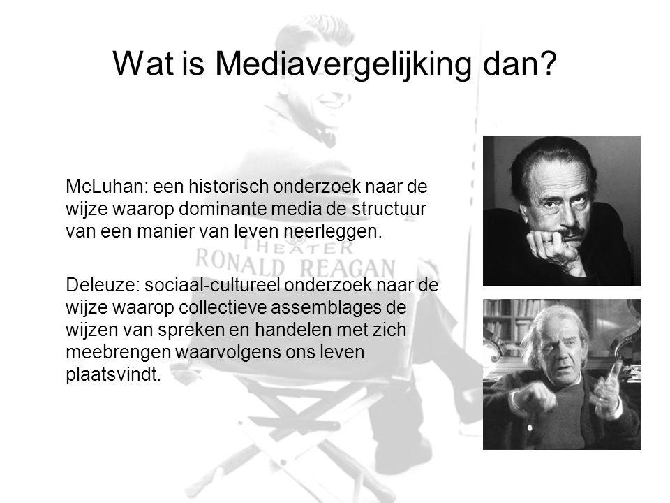 Wat is Mediavergelijking dan? McLuhan: een historisch onderzoek naar de wijze waarop dominante media de structuur van een manier van leven neerleggen.