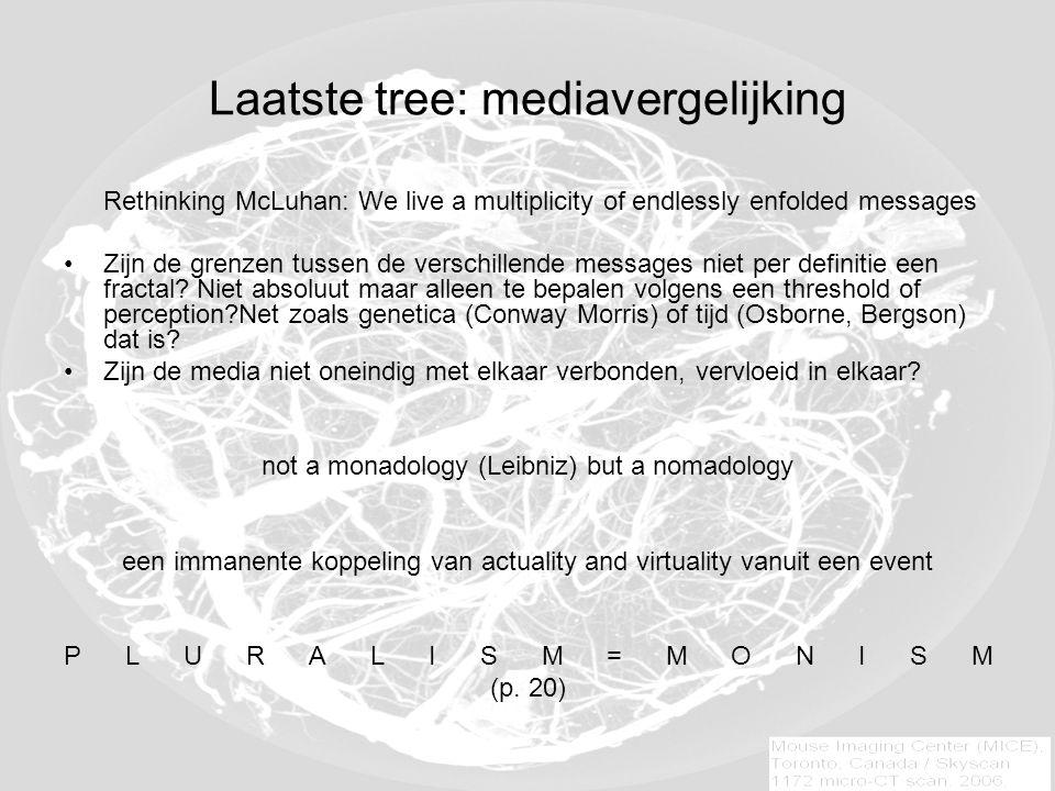 Laatste tree: mediavergelijking Rethinking McLuhan: We live a multiplicity of endlessly enfolded messages Zijn de grenzen tussen de verschillende messages niet per definitie een fractal.
